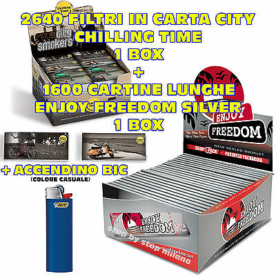 Cartine Lunghe KingSize Slim SILVER Enjoy Freedom + Filtri Carta MAD4 CITY + Bic