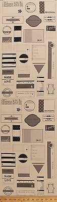 """12"""" x 44"""" Handmade with Love Project Labels Tags Cotton Fabric Panel D775.09"""