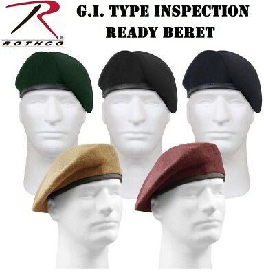 Military Wool Beret  Inspection Ready Pre-Shaved Badge US Army JROTC Rothco