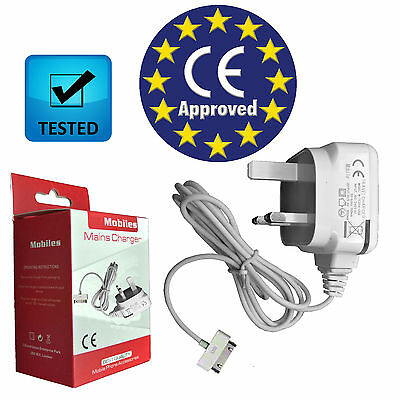 New Uk 3 Pin Mains Wall Charger Ce Approved For Apple Iphone 4S 4 3Gs Ipod Touch