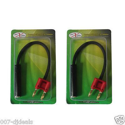 "2 new 6"" 1/4 female to banana speaker cable jack DJ audio adapter red XC-BNQF-RD"