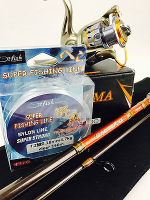 Daiwa Crossfire Spinning Rod & Gw.ma Reel 2000 & Line Combo Bream Bass Jigging