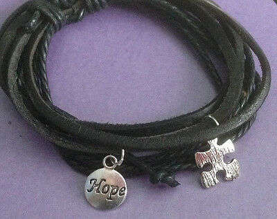 Black Leather Surfer Wristband Bracelet with Autism Puzzle and Hope Charms