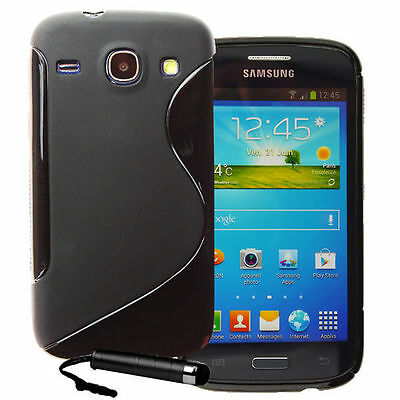 CUSTODIA COVER SILICONE TPU S-LINE NERA X SAMSUNG GALAXY G3500 CORE PLUS + PEN