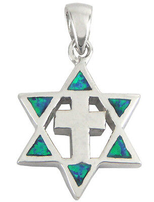 925 Sterling Silver & Opal STAR OF DAVID WITH CROSS MESSIANIC PENDANT