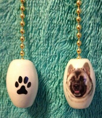 One Akita Dog Fan Pull With A Paw Print On The Back 1""