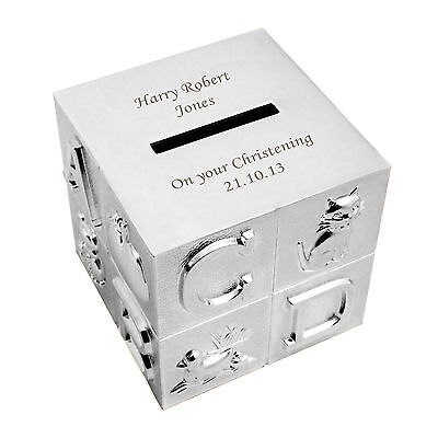 Personalised Engraved ABC Money Box, Moneybox - Baby Birthday, Baptism Christmas