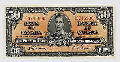 Gordon/Towers $50 Canada, 1937 Gordon/Towers signatures; Charlton #BC-26b AU