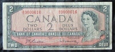 BANK OF CANADA - 1954 $2 Note - G/U 9000616 - Signed Beattie & Rasminsky - NCC