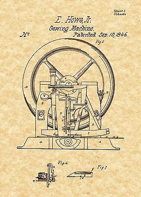 Patent Print - Antique Sewing Machine 1846 Art Print. Ready To Be Framed!
