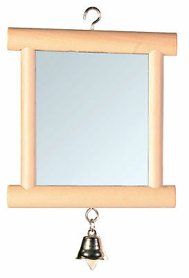 Wooden Framed Double Sided Mirror with Bell Bird Cage Budgie Canary Toy