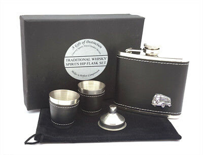 HORSE RACING HIP FLASK SET 2 Cups Funnel Pen Mens Quality Race Gift Boxed NEW