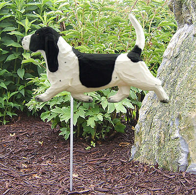 Basset Hound Outdoor Garden Dog Sign Hand Painted Figure Black/White