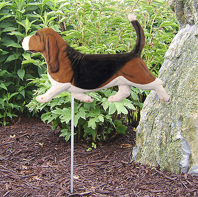 Basset Hound Outdoor Garden Dog Sign Hand Painted Figure Tri