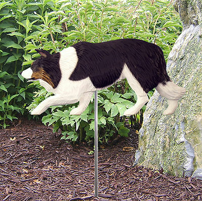 Border Collie Outdoor Garden Dog Sign Hand Painted Figure Black Tri