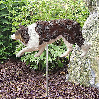 Border Collie Outdoor Garden Dog Sign Hand Painted Figure Red Merle