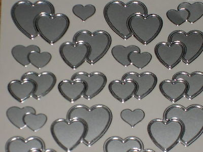 Wedding Peel off Stickers -2 Sheets Mixed Hearts SILVER card making,