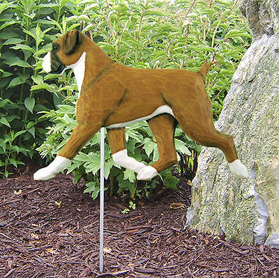 Boxer Uncropped Outdoor Garden Dog Sign Hand Painted Figure Fawn