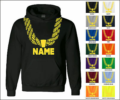 Gold Chain Custom Personalized Name Metallic Hip Hop Funny Hooded Sweatshirt