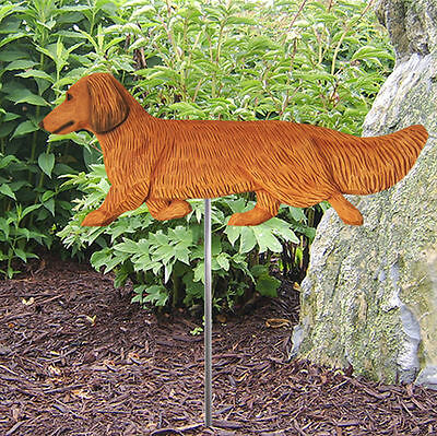 Dachshund Long Hair Outdoor Garden Dog Sign Hand Painted Figure Red