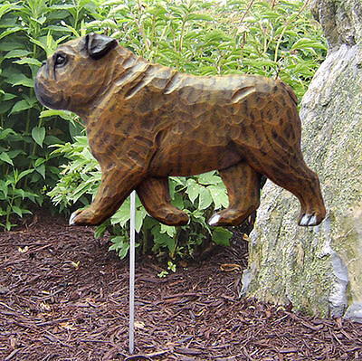 English Bulldog Outdoor Garden Dog Sign Hand Painted Figure Brindle