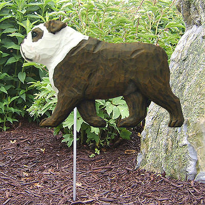 English Bulldog Outdoor Garden Dog Sign Hand Painted Figure Brindle/White