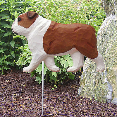 English Bulldog Outdoor Garden Dog Sign Hand Painted Figure Red