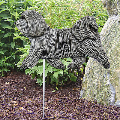 Havanese Outdoor Garden Dog Sign Hand Painted Figure Light Grey