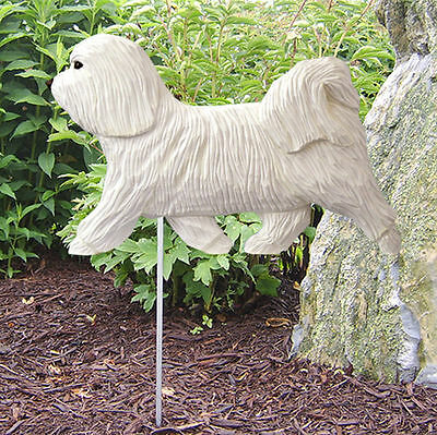 Havanese Outdoor Garden Dog Sign Hand Painted Figure White