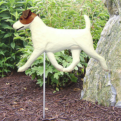 Jack Russell Terrier Outdoor Garden Dog Sign Hand Painted Figure Brown/White