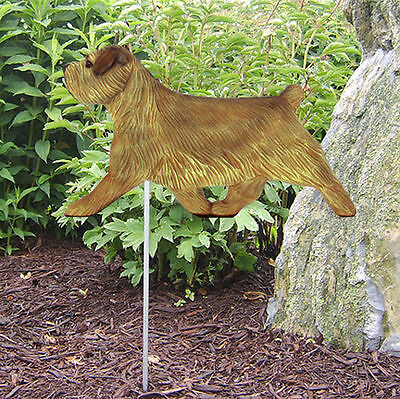 Norfolk Terrier Outdoor Garden Dog Sign Hand Painted Figure Grizzle