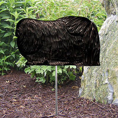 Pekingese Outdoor Garden Dog Sign Hand Painted Figure Black