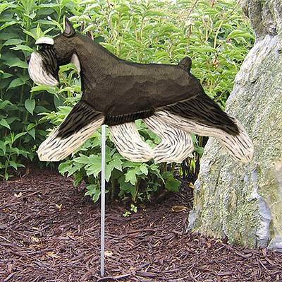 Schnauzer Miniature Outdoor Garden Dog Sign Hand Painted Figure Black/Silver
