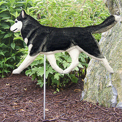 Siberian Husky Outdoor Garden Dog Sign Hand Painted Figure Black/White