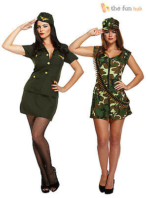 Ladies Sexy Army Fancy Dress Costume Soldier Camo Women WW2 World War Two VE Day