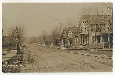 RPPC Main Street, NORTH CLARENDON PA, Vintage Pennsylvania Real Photo Postcard