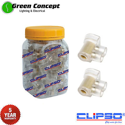 NEW Jar 50 x Double Cable Connectors Joiners Two 2 Screw Clear