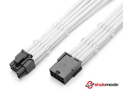 8 pin to 6+2 pin Pcie White Sleeved Extension 30cm + 2 Free cable Combs Shakmod