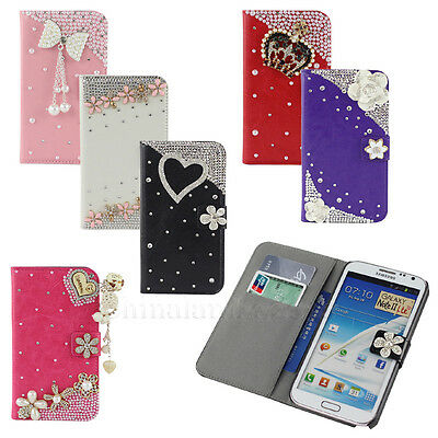 For Samsung Galaxy Note 2 II N7100 Leather Flip Wallet Flower Bling Case Cover