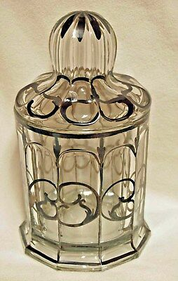 Rare 1908 HEISEY Silver Overlay Covered Glass Jar Container - Candy - Humidor