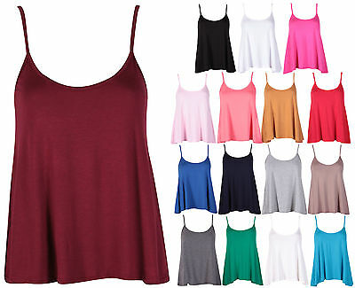 Womens Plain Sleeveless Ladies Stretch Strappy Flared Swing Camisole Vest Top