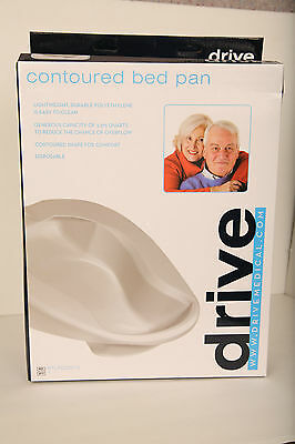 NIB Drive Medical Contoured Bed Pan Lightweight Polyethylene 3.37 Qt Capacity