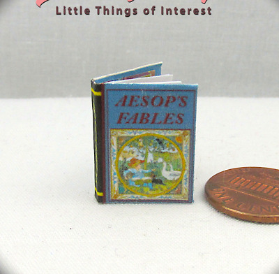 AESOP'S FABLES Illustrated Readable Miniature Book Dollhouse 1:12 Scale Book