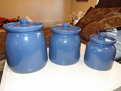 Bybee Pottery 3 Piece Blue Canister Set with Lids