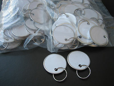 """Lot 100 Metal Edged 1 1/4"""" White Paper Tags with Ring / Key ID Labels Tags"""