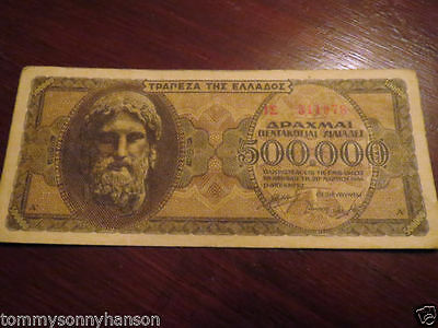 Scarce 500,000 GREEK DRACHMAE 1944 banknote............ old rare collector note
