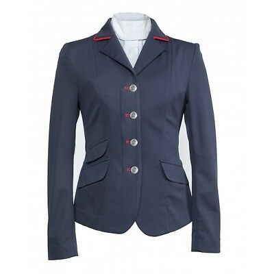 New! Shires Ladies Navy Richmond Show Jumping Jacket w/ Red Trim Size 32-36