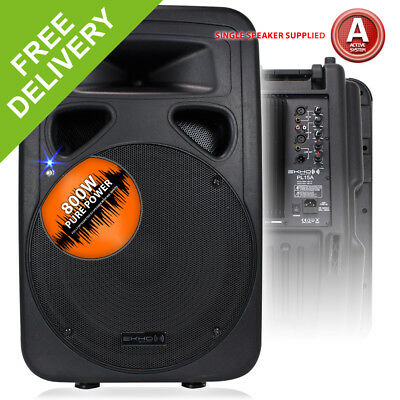 "15"" Active Powered Disco Party DJ Wedge Monitor Speaker Portable PA System 800W"
