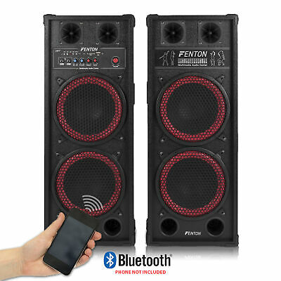"Pair of Skytec Dual 2x 10"" Active Powered Speakers Disco Party DJ System 1200W"