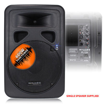 "Ekho PL12A 12"" Active Powered PA DJ Speaker Disco Party Professional Audio 600W"